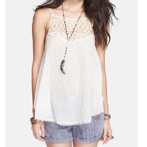 Free People Eyelet Cotton Tank XS